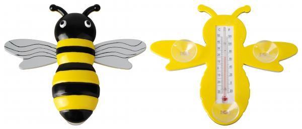 Méhecske alakú műanyag hőmérő, tapadó koronggal, -30 és + 50 fok között mér.