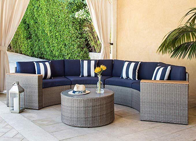 Awe Inspiring Solaura Outdoor 5 Piece Sectional Furniture Patio Half Moon Cjindustries Chair Design For Home Cjindustriesco