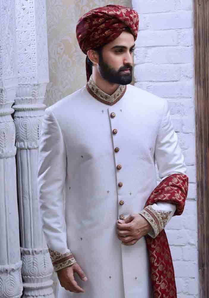 latest white pakistani mens wedding sherwani barat dresses 2017 with red turban