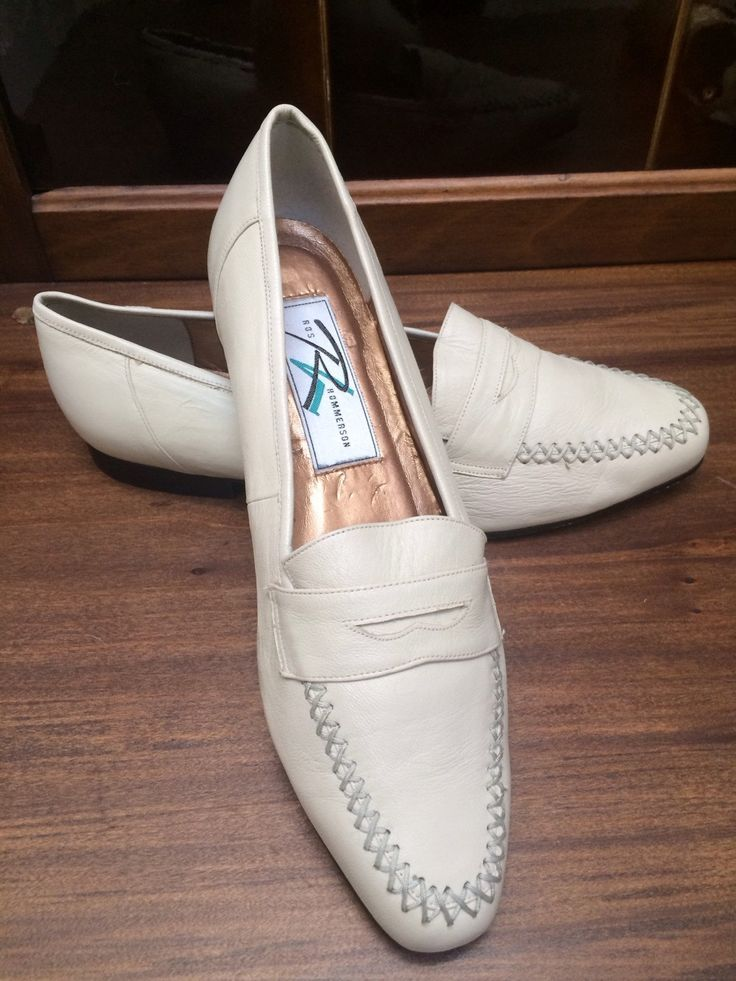 Vintage 1980's Leather Store Stock Never Worn New Off White Penny Loafers Flats Size 8M Hipster Secretary Kitschy by OldParisVintage on Etsy