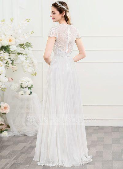 Vestidos princesa/ Formato A Decote V Sweep/Brush trem Tecido de seda Vestido de noiva com Beading lantejoulas Curvado Plissada (002107555)