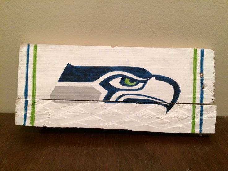 Seattle Seahawks football team logo painted wood sign for man cave