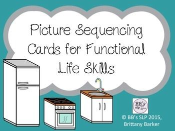 Thank you for looking at this product! It includes real life pictures which can be used to sequence activities of daily living or functional life skills.Each card can also be used to discuss vocabulary, WH questions, narration skills, problem/solutions, and much more!