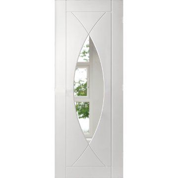 Image of Five Pesaro White Primed Flush Door with Clear Safety Glass