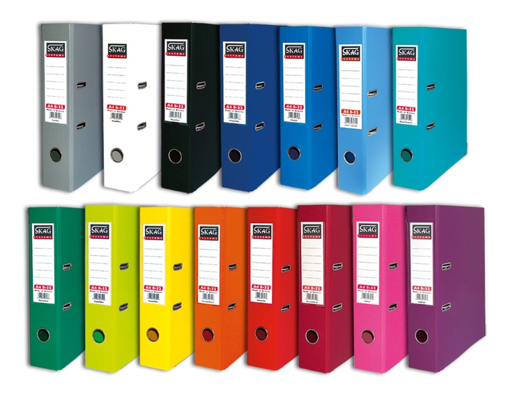 Lever arch files PP in 15 different colours
