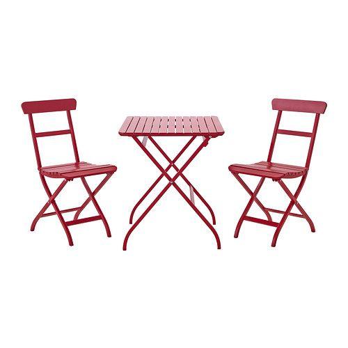 MÄLARÖ Bord+2 stolar, utomhus - röd - IKEA