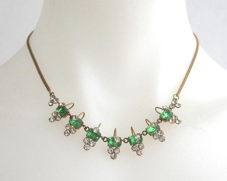 Vintage rhinestone necklace with clear circular rhinestones and large rectangular green rhinestones, unusual decorative setting, circa 1950s by CardCurios on Etsy