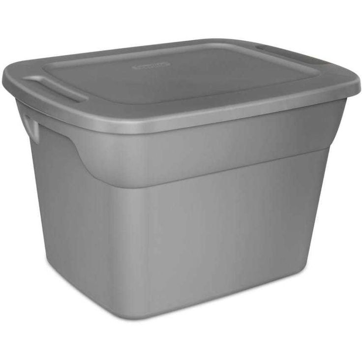 8 Plastic Storage Tote Box Stackable 18 Gallon Gray Container Bin Lid Set This Sterilite 18-Gallon Tote Box in Steel is ideal for storage in an attic, basement or garage area. Use it to keep items such as camping gear, sports equipment, seasonal decorations and bedding. This Sterilite tote box features durable construction and has comfortable molded-in handles that help make moving and transporting it easy. The included lid snaps securely to the base and has an indexed design to allow for…
