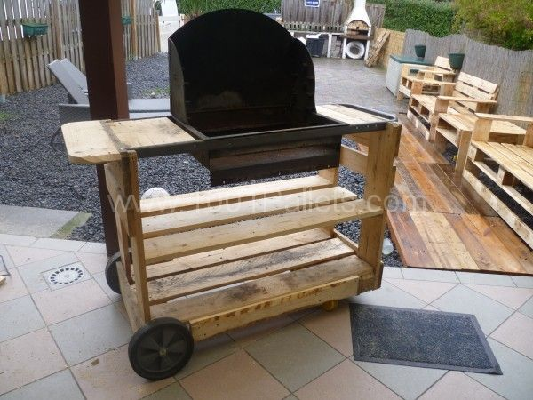 my new pallet bbq mon nouveau barbecue pallet ideas gardens shopping and pallets garden. Black Bedroom Furniture Sets. Home Design Ideas