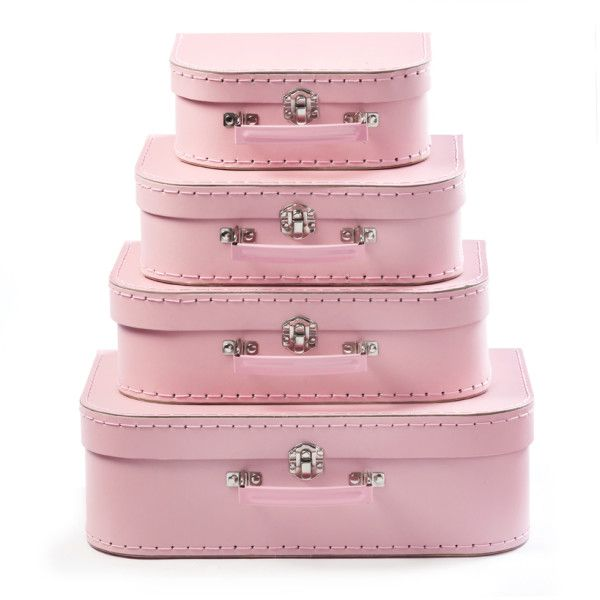 4 piece pink mini suitcases