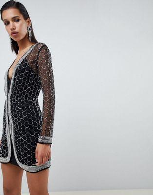 2cb185dc5c ASOS DESIGN Embellished Sequin Robe Mini Dress
