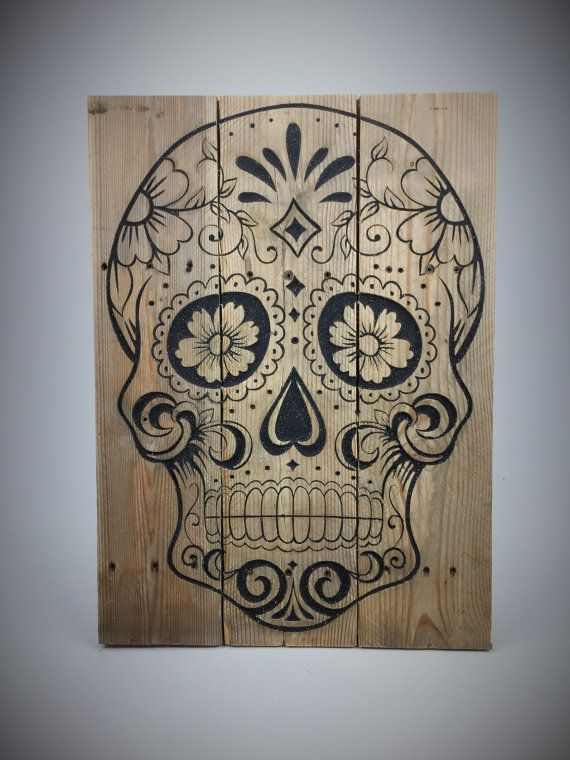Rustic Reclaimed Wood Carved Sugar Skull With Hand Dyed Sand and Shimmering fragments Hand Made Calavera Spanish Modern Decor Chic Mix Media
