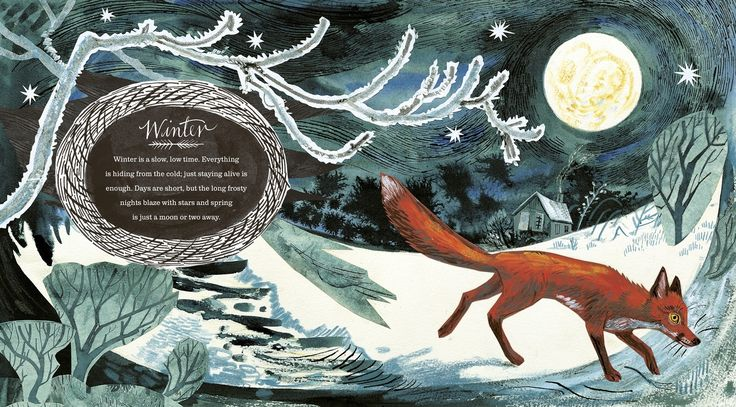 Mark Hearld, fox, drawing, print, colour, page layout, design, type, lettering, winter, illustration