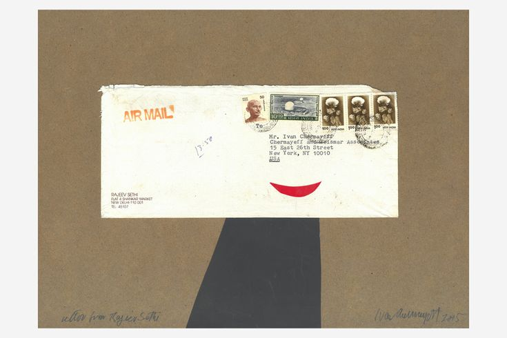 Letter from Rajeev Sethi, 2015, is among the collages featured in the current exhibition at Pavel Zoubok Gallery. The works incorporate pebbles, postage stamps, envelopes, memos and other memorabilia.