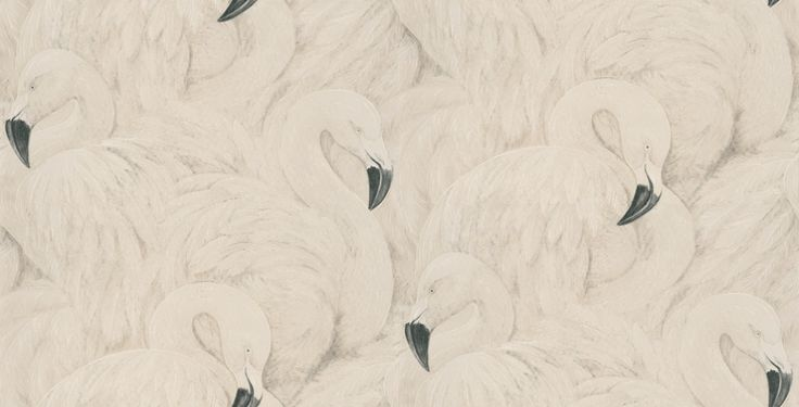 Flamingos (823806) - Albany Wallpapers - A raised textured vinyl wallcovering featuring extravagant pink flamingos. Showing in a silvery white shade - a pink version is available. Please request a sample for true colour match.