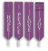 Set of 4 Advent Banners   Hope  Joy  Love  Peace   Church Partner
