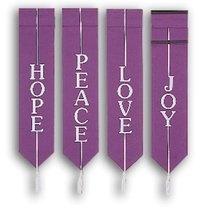 Set of 4 Advent Banners   Hope  Joy  Love  Peace   Church Partner