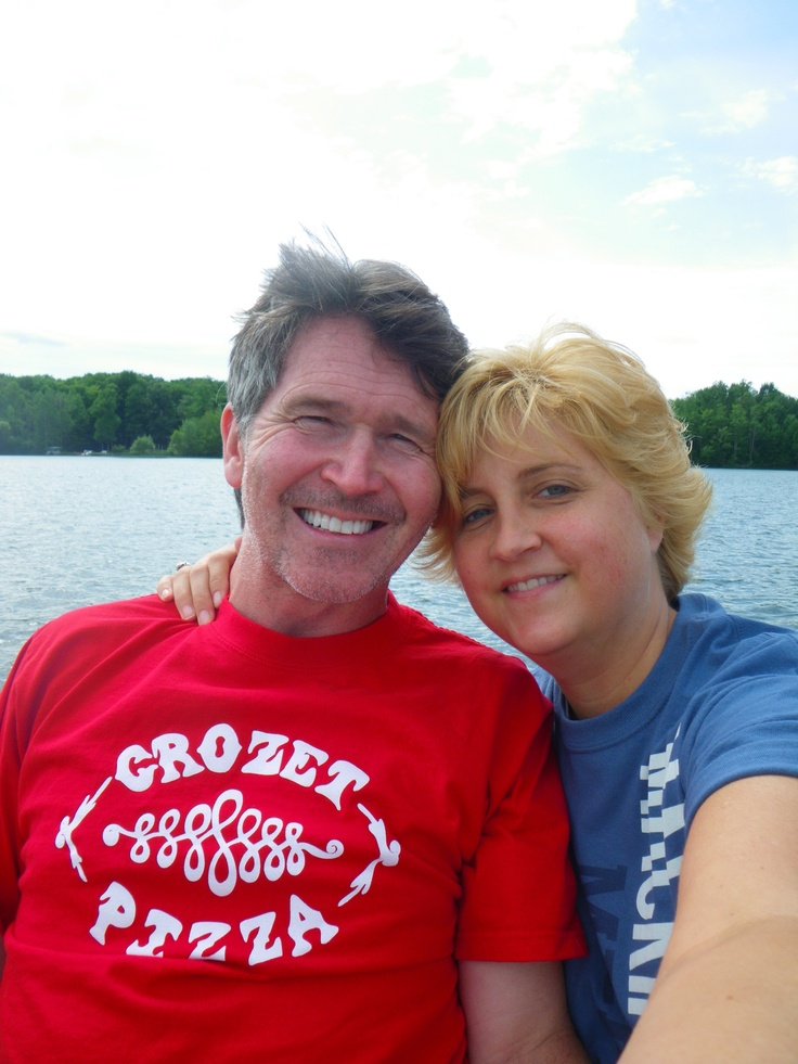 "Keithaccino & Sweet Melissa on Green Lake- Interlochen, Mi. Sporting my awesome Crozet Pizza ""T"""