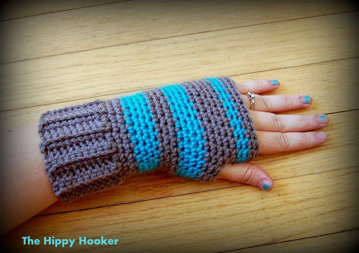 The Hippy Hooker: Super Simple Fingerless Gloves: Free Crochet Pattern!
