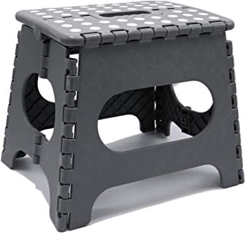 Folding Step Stool Lightweight 11 Inch Step Stool Is Sturdy Enough To Support Adults And Safe Enough For Kids Opens Easy With One Flip Gre