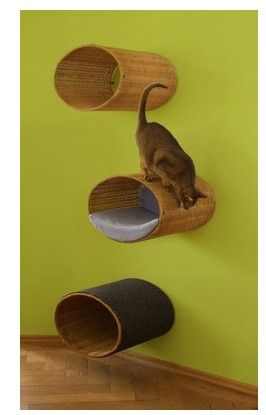 wall-mounted trash cans as kitty cubbies