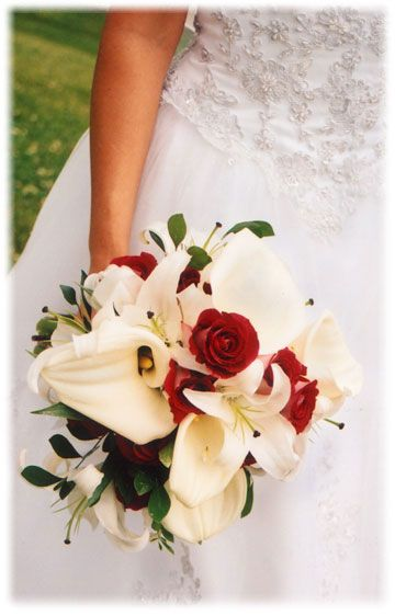 Red Roses And White Lily Wedding Bouquet
