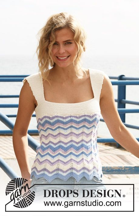 """Knitted DROPS top with zigzag pattern and stripes in """"Muskat"""". Size S-XXXL."""