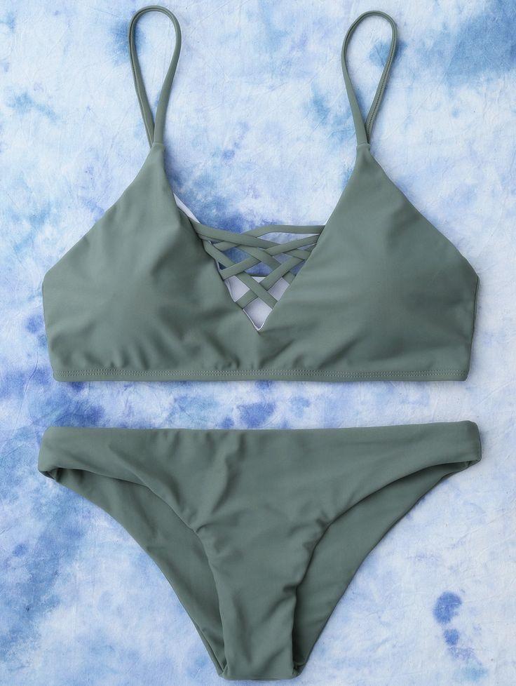 $11.99 Lace Up Bikini Top and Bottoms