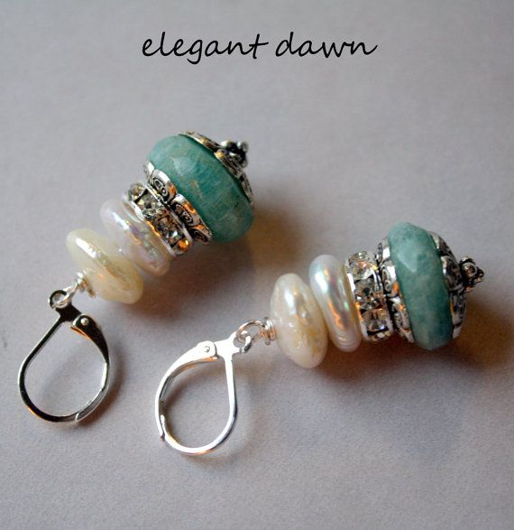 stacked    air earrings dawn Pearls  Beads leather   Elegant pearl max and Earrings amanazite