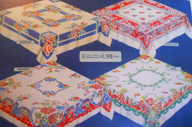 WWII era tablecloths, Sears 1944
