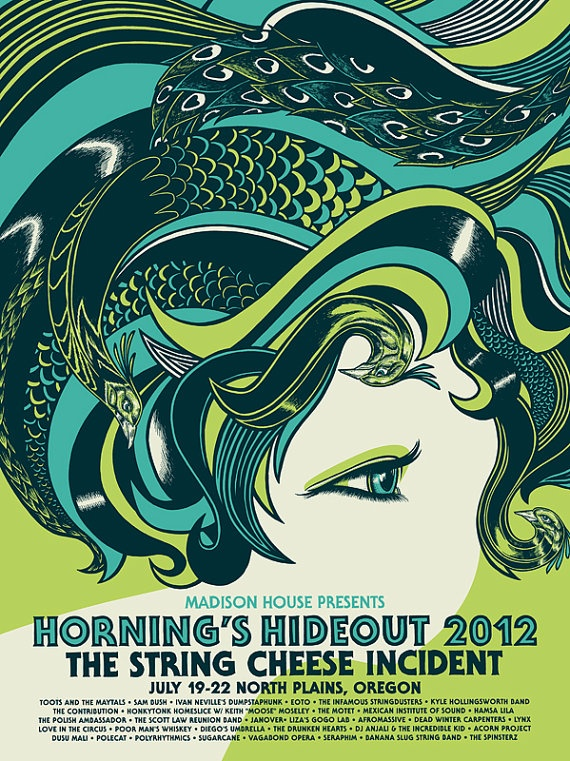 String Cheese Incident Horning's Hideout GigPoster by theBungaloo, $25.00