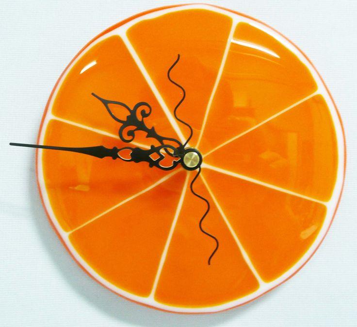 Fused Glass Orange Clock @Copper Siegel Siegel Siegel Siegel Moon