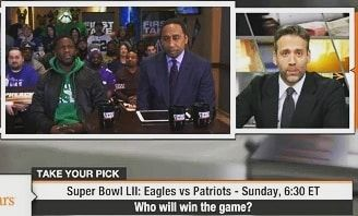 Stephen A. Smith Kevin Hart and Max Kellerman all picked the Eagles to win the SB 52 and for all the people who doubt us we will prove you wrong!! Fly Eagles Fly!