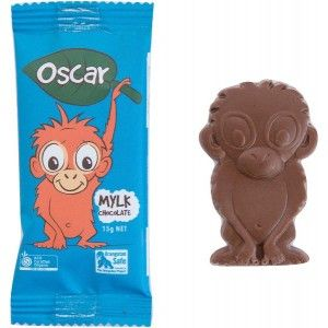 This chocolate orangutan is a great sweet treat. An Australian Certified Organic bar, that is gluten, dairy, soy and palm-oil free, will be a great addition to lunchbox or snack-time. 'Mylk' Chocolate - 15g.