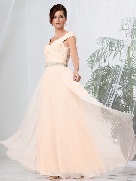 Chiffon mother of the bride dress with a shirred off the shoulder bodice