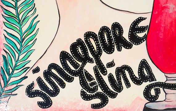 COCKTAIL SIGN Singapore Sling by LiliGabbiano on Etsy