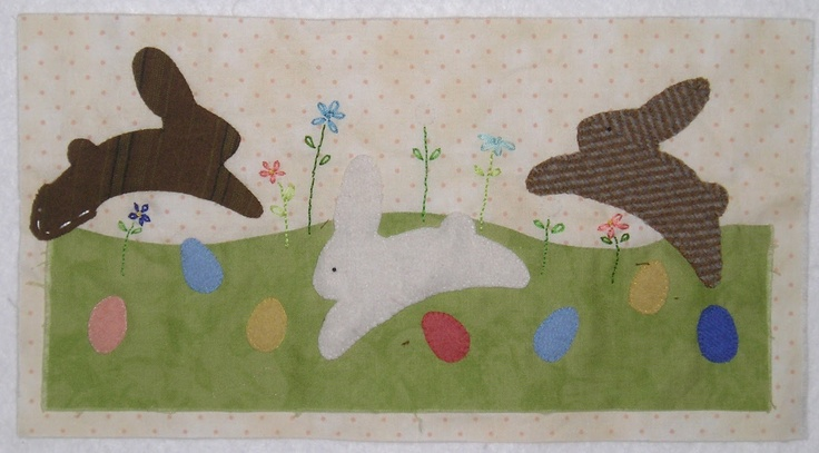 """A """"bunny hop"""" for Easter, wool appliqué on cotton background, some embroidery  Pattern is from Bare Roots  http://bareroots.com/index.php?main_page=product_info=3_id=64"""