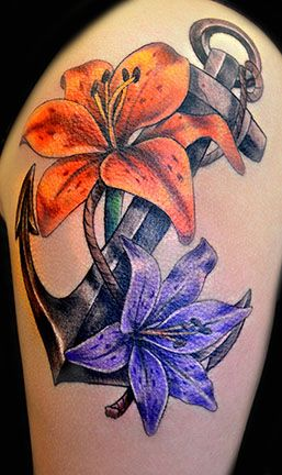 Anchor and Flower Tattoo | Purple And Orange Flowers Anchor Tattoo On Shoulder