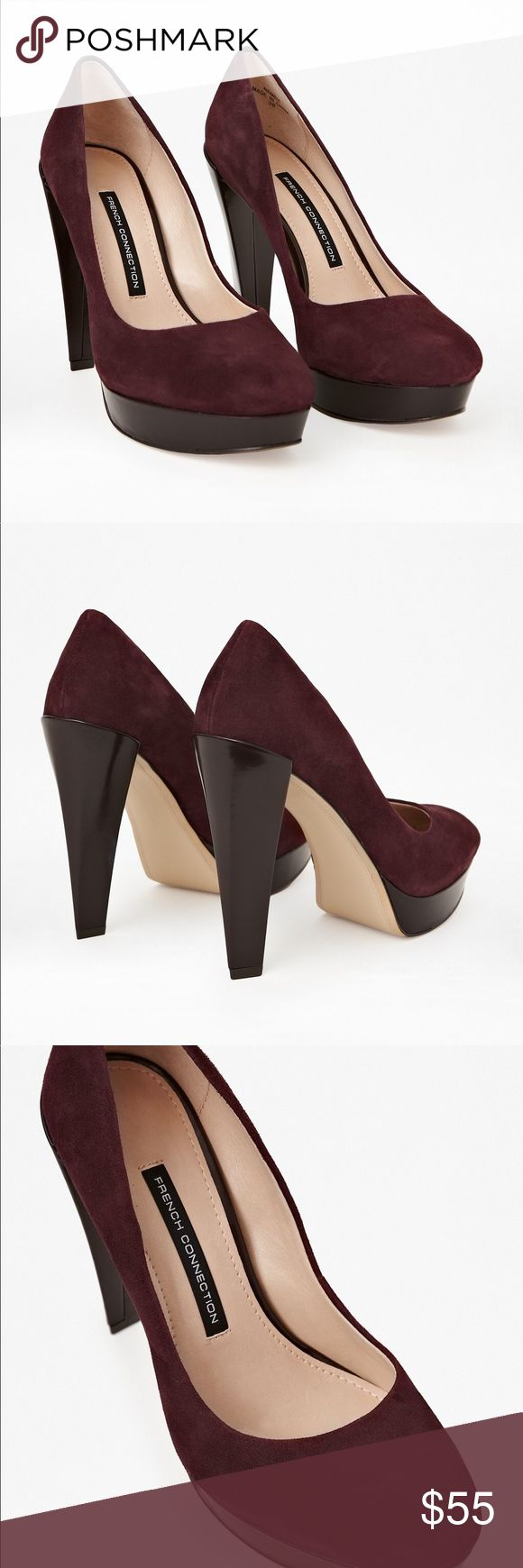 French Connection maroon suede pumps Great condition. Only been worn a couple of times. Size 37 French Connection Shoes Heels