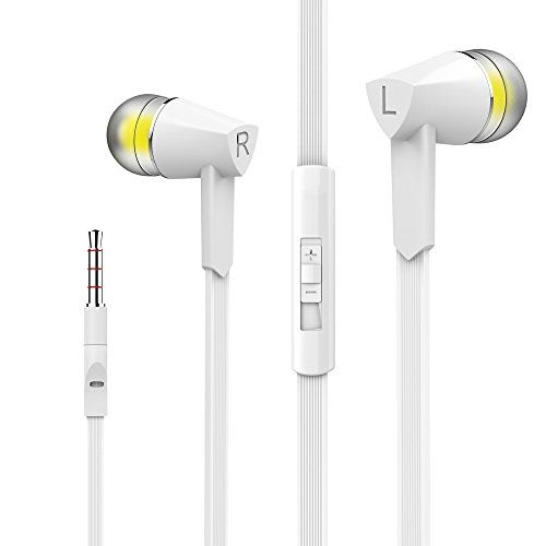 Vomach Stereo Sound Headphones Wired Earphones In-Ear Earphones with Volume Control Earbuds with Mic White