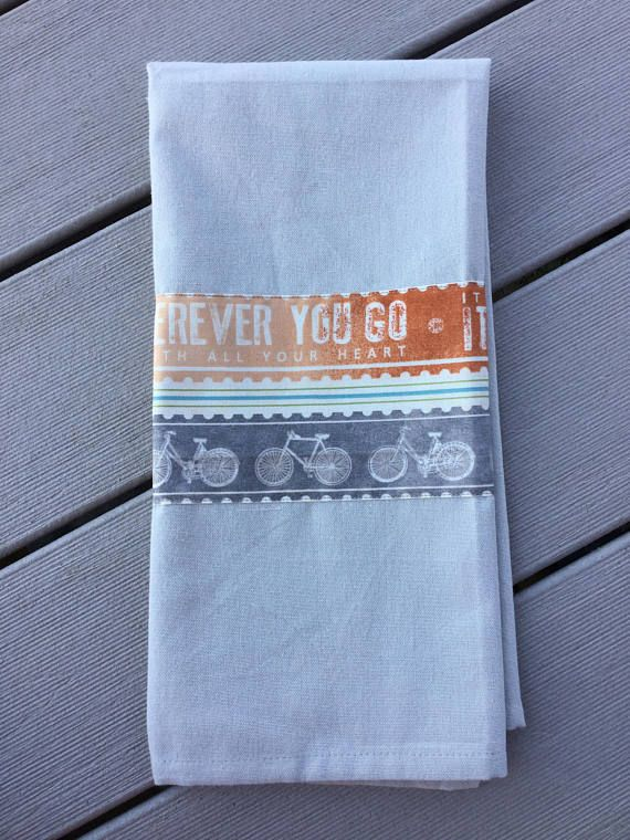 Bicycle Decor Light Gray Tea Towel Mountain Bike Lover Gift
