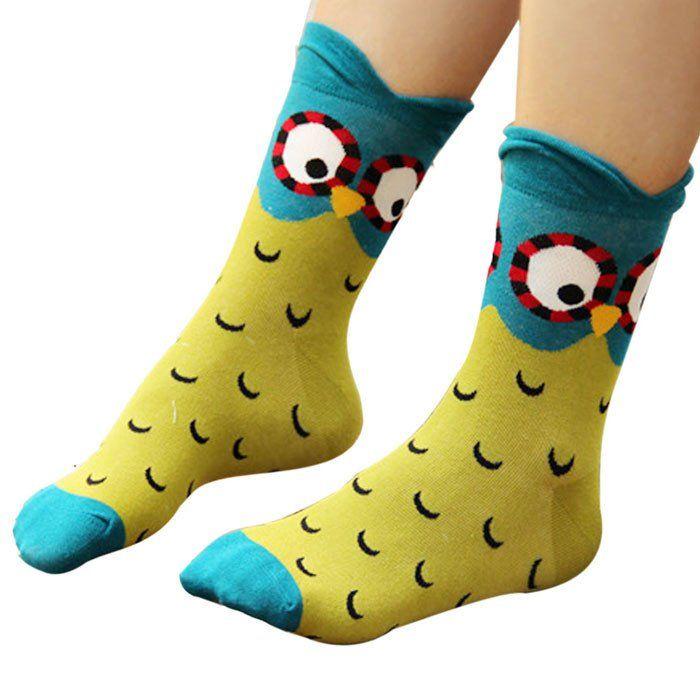 Moonlight Owl Socks (C) #Green #Yellow