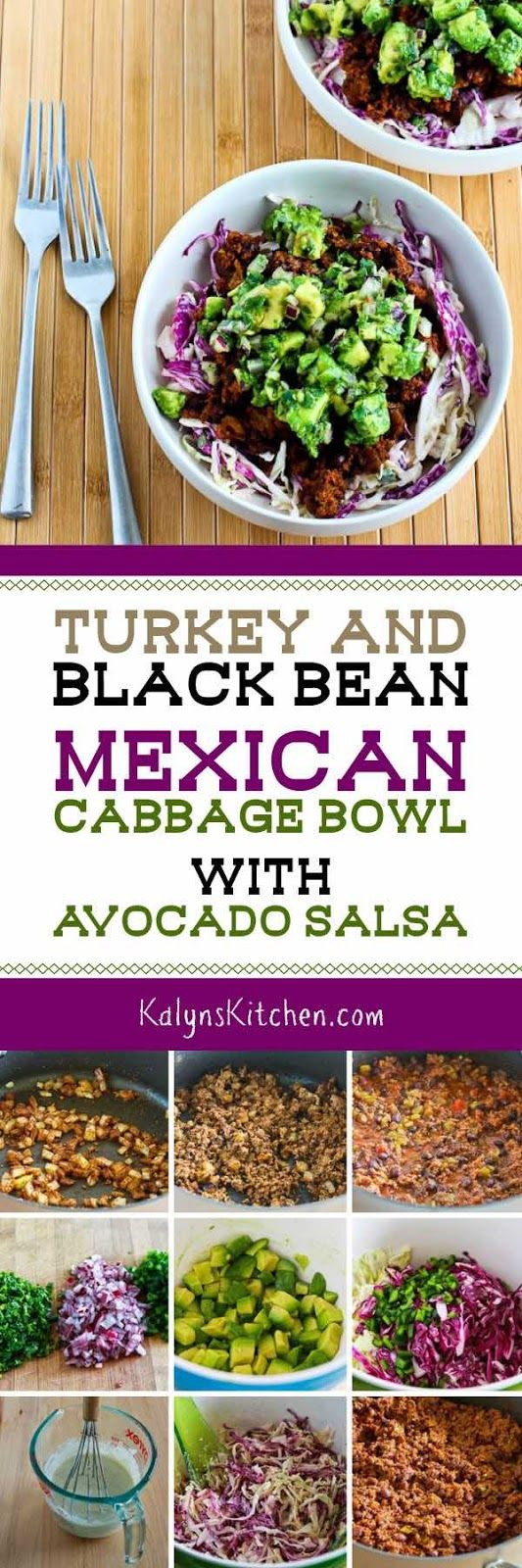 Turkey and Black Bean Mexican Cabbage Bowl with Avocado Salsa found on KalynsKitchen.com.