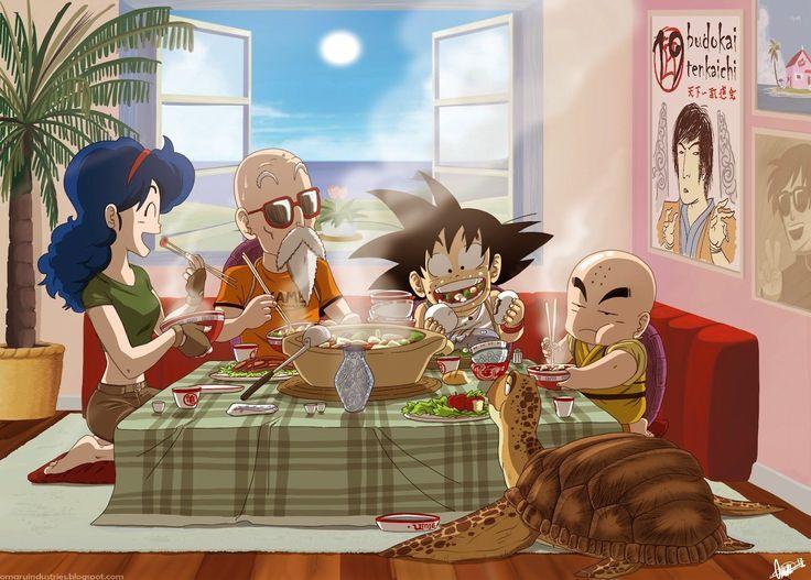 Goku, Roshi, Krillin, Lunch, and Turtle