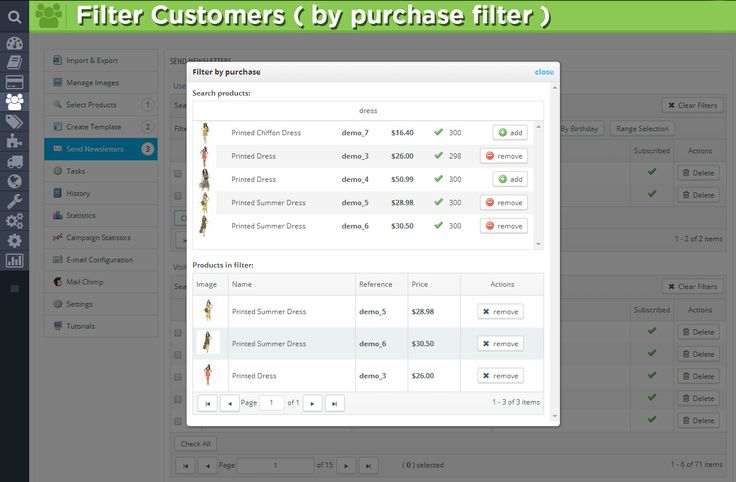 Filter Customers (by purchase filter).