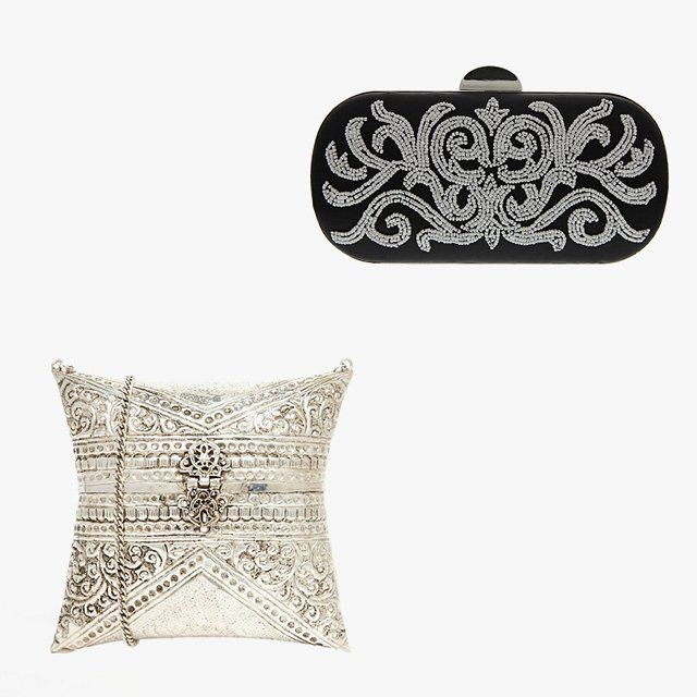 Nina Firefly minaudière, $89, lordandtaylor.com; From St Xavier pillow clutch bag with floral embossing, $114, asos.com