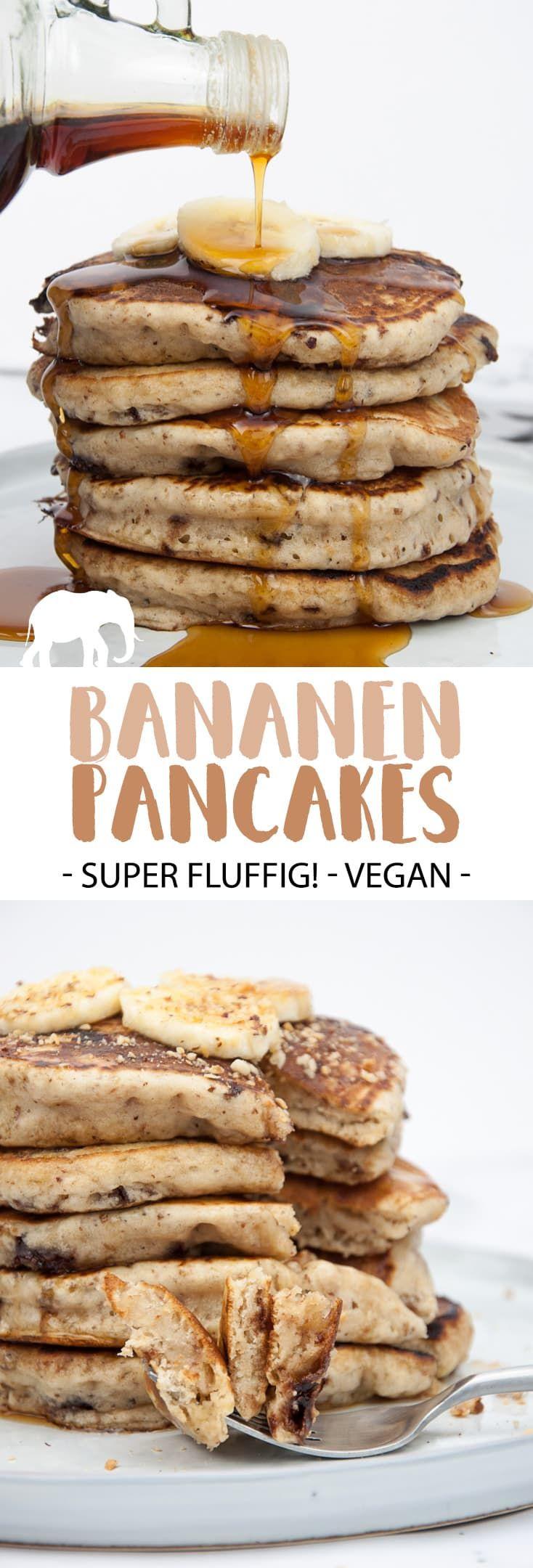Fluffige Bananen Pancakes Mit Schokostückchen (Vegan) |  ElephantasticVegan.de #vegan #