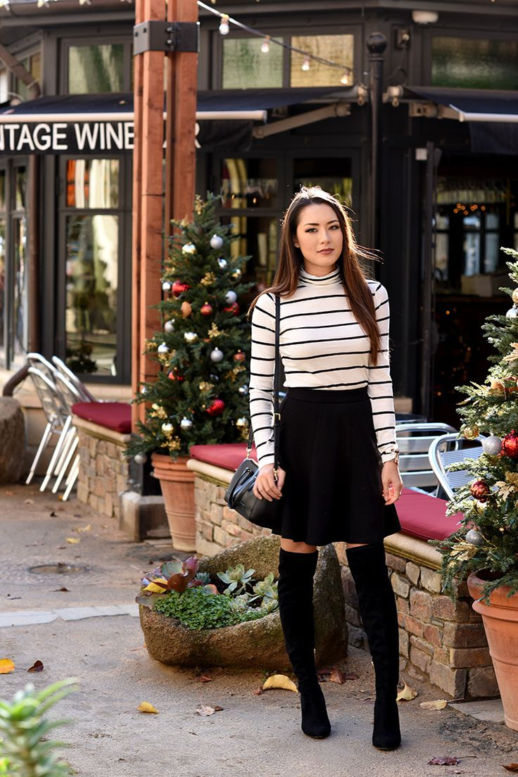 striped top with full skirt and boots