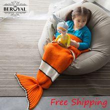 """Mermaid Blanket ,Pattern Crochet Mermaid Tail,Knitted Mermaid Tail Blanket Child 27.5""""*55"""" Bedding Sofa Sleeping Bag Kids"""