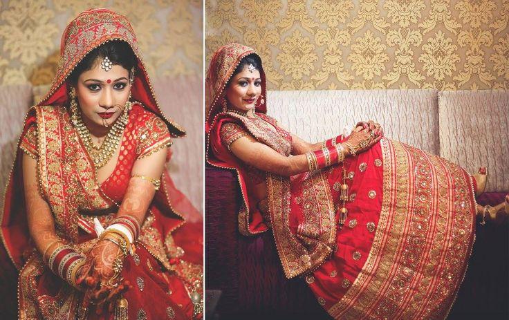 A red & gold lehenga from Meena Bazaar for Bride Mini Gupta of WeddingSutra. Photos Courtesy- Jaspreet Singh Photography